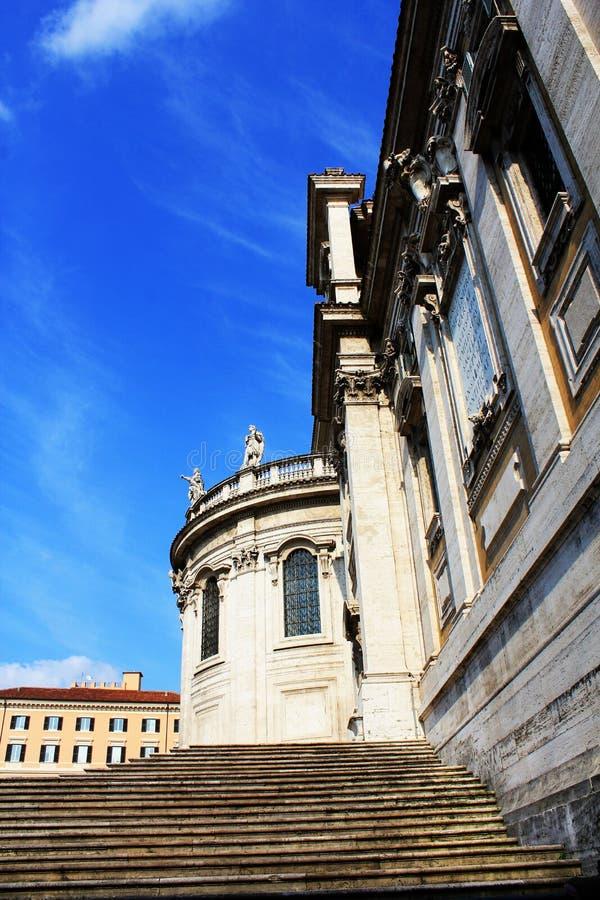 Avant de l'église historique de Santa Maria Maggiore de Di de Papale de basilique à Rome image stock