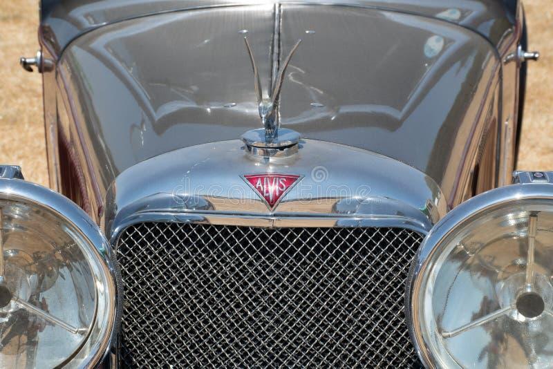 Avant de la voiture classique d'Alvis étant exhibée à l'exposition image libre de droits
