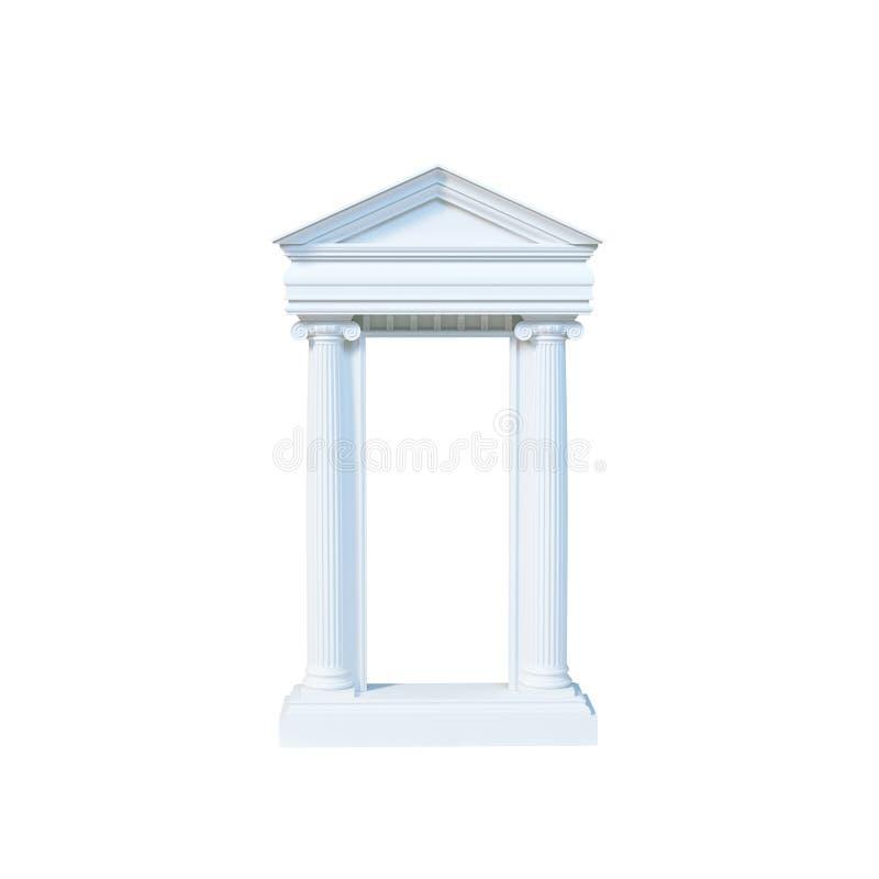 Avant de marbre antique de temple avec les colonnes ioniques d'isolement sur le blanc illustration libre de droits