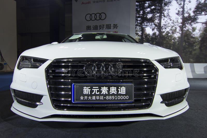 Avant de voiture d'Audi A7 d'†de salon de l'Auto» images libres de droits