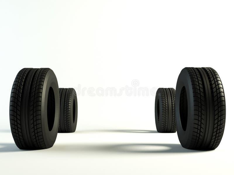 Avant des pneus 4 illustration libre de droits