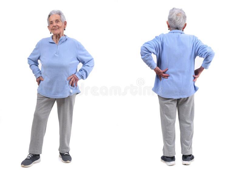 Avant et femme supérieure arrière avec des vêtements de sport sur le blanc images stock