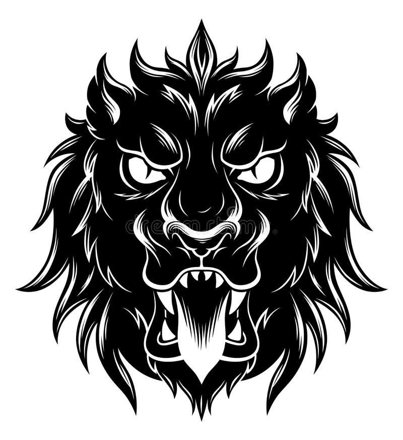 Avant héraldique de tête de lion illustration stock