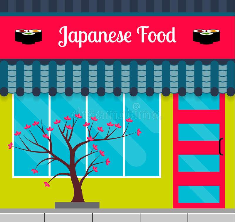 Avant japonais de restaurant de nourriture dans le style plat illustration stock