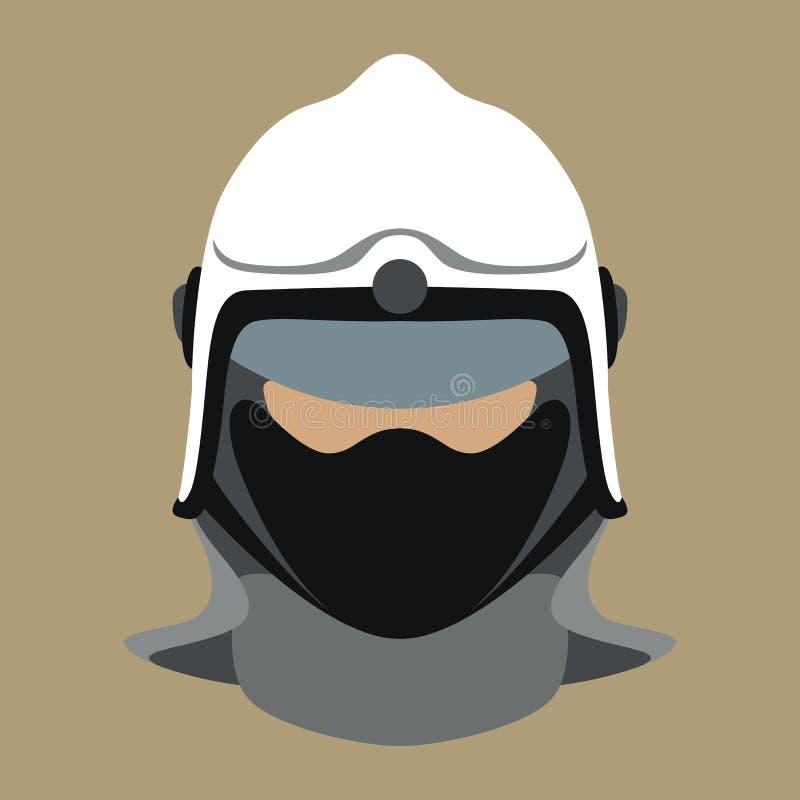 Avant plat de style d'illustration de vecteur de visage de casque de pompier illustration de vecteur