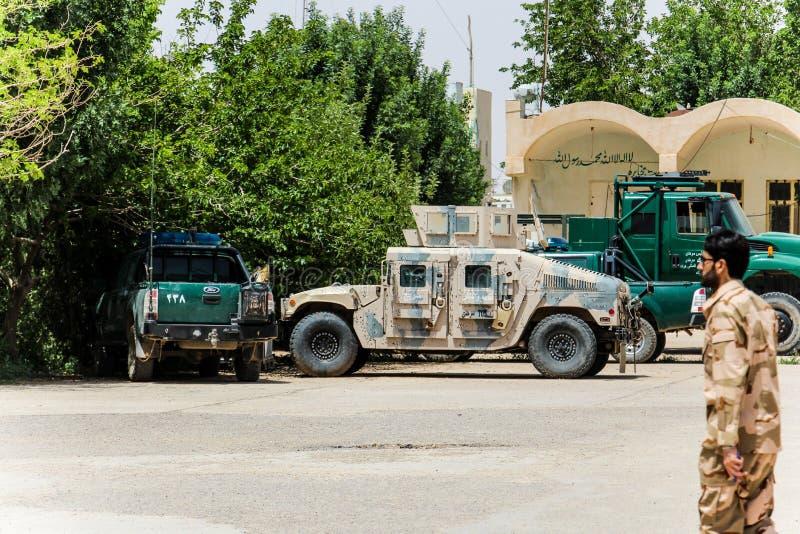 Avant-poste militaire de l'Afghanistan au milieu du désert photo libre de droits