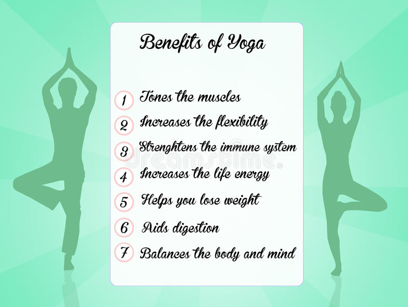 Avantages de yoga illustration stock
