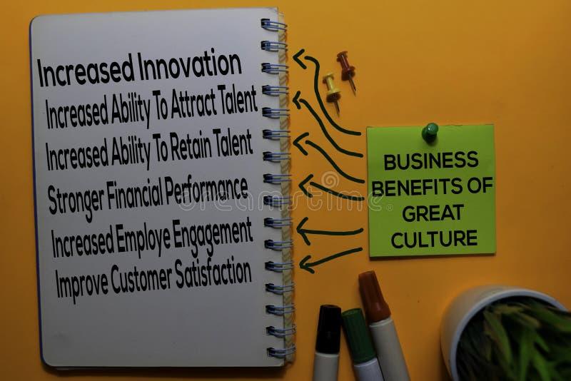 Avantages pour l'entreprise d'une grande culture Texte de la méthode avec des mots-clés isolés sur un fond de tableau blanc Conce photos libres de droits