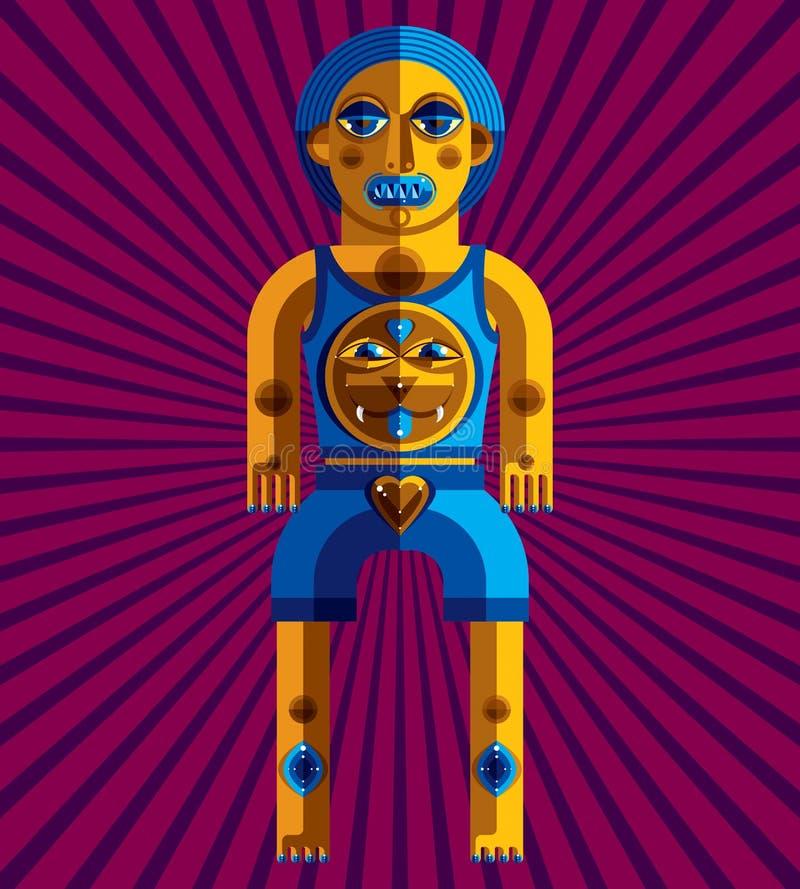 Avantgardeavatar, färgrik teckning som skapas i kubismstil stock illustrationer