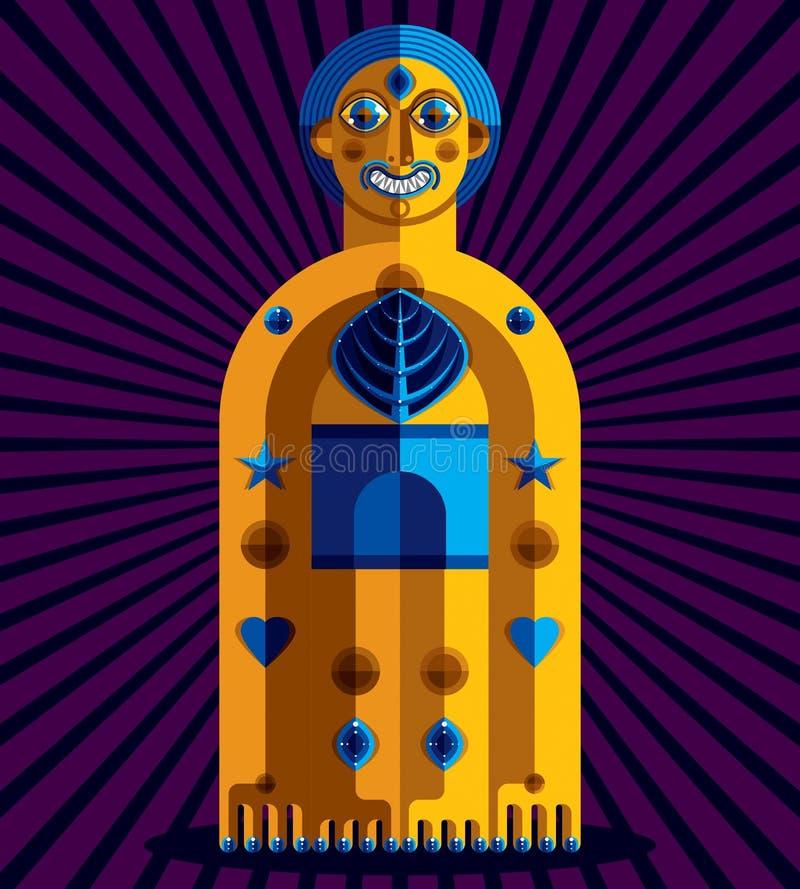Avantgardeavatar, färgrik teckning som skapas i kubismstil Mo royaltyfri illustrationer