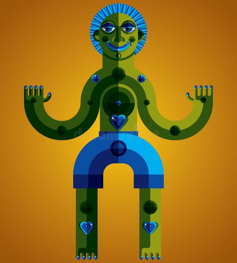 Avantgardeavatar, färgrik teckning som skapas i kubismstil Mo vektor illustrationer