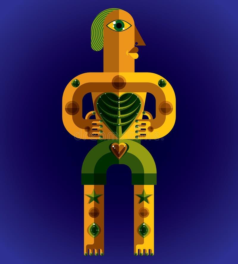 Avantgardeavatar, färgrik teckning som skapas i kubismstil Mo stock illustrationer