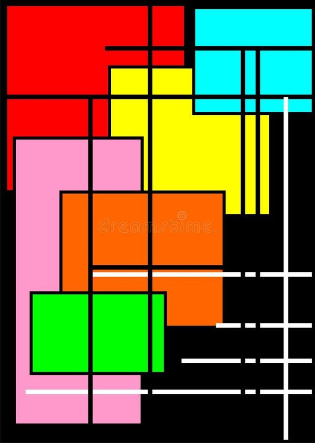 Avantgardebakgrund med ljusa fyrkanter stock illustrationer