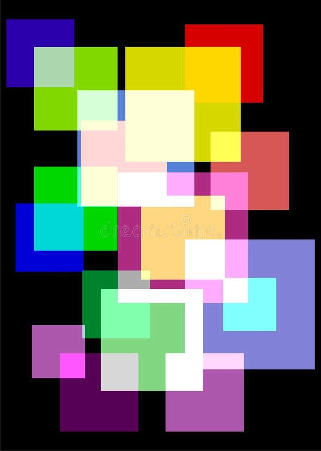 Avantgardebakgrund med ljusa glass fyrkanter royaltyfri illustrationer