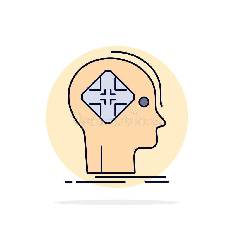 Avanzado, cibernético, futuro, humano, vector plano del icono del color de la mente libre illustration
