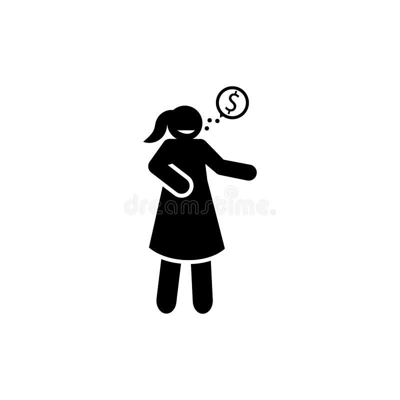 Avaricia, dinero, pensando, icono de la mujer Elemento del icono negativo de los rasgos de car?cter Icono superior del dise?o gr? libre illustration