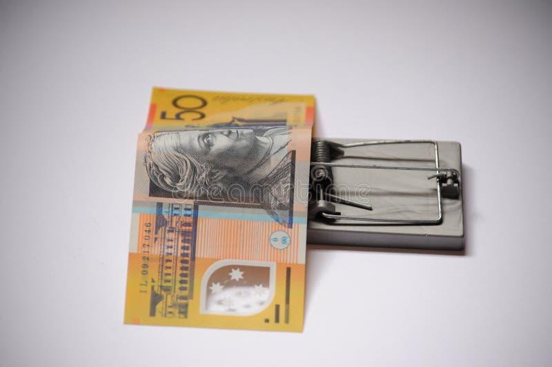 Avaricia y australiano financiero de la trampa de la tentación cincuenta dólares imagen de archivo