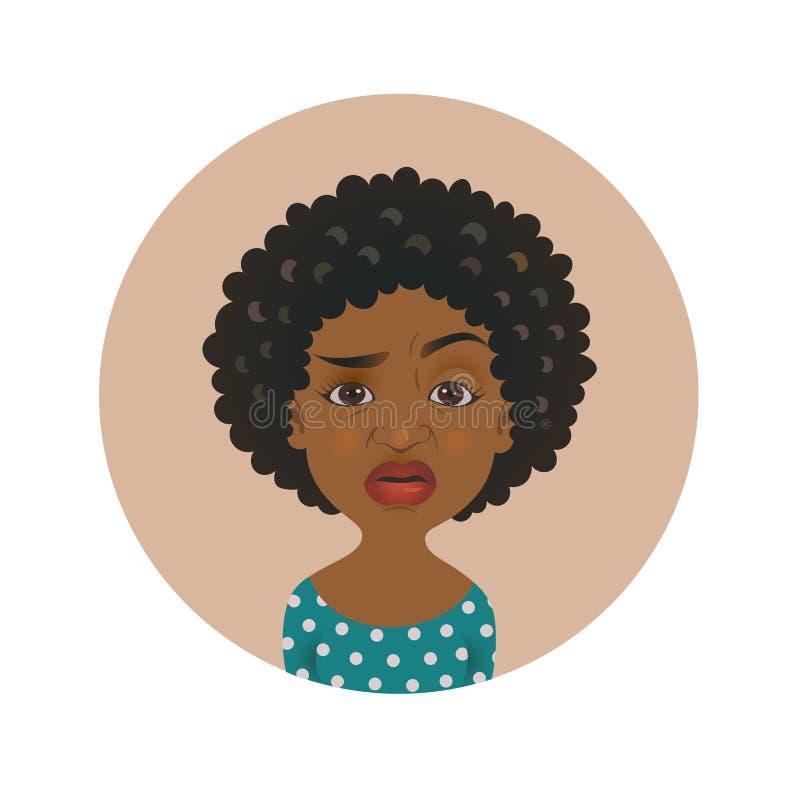 Avatar afro-américain exigeant mignon de femme Emoji africain Overcritical de fille Expression du visage à la peau foncée sceptiq illustration stock