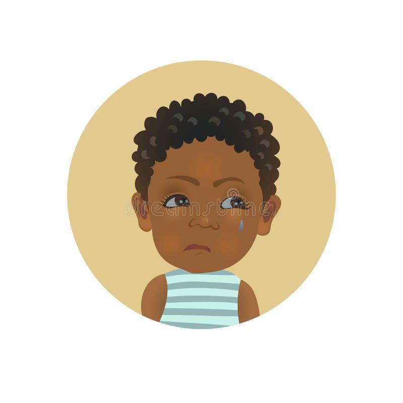 Avatar afro-américain irrité d'expression du visage d'enfant Émoticône de bébé offensée par Africain mignon illustration de vecteur