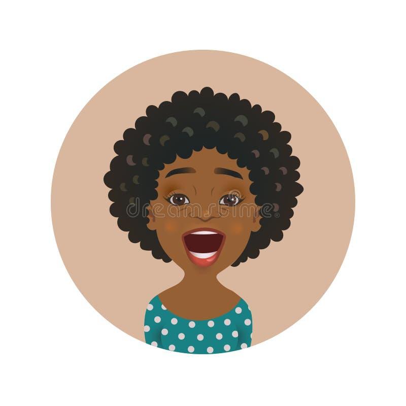 Avatar afro-americano surpreendido da mulher Emoticon africano surpreendido da menina Expressão facial surpreendida bonito da pes ilustração royalty free