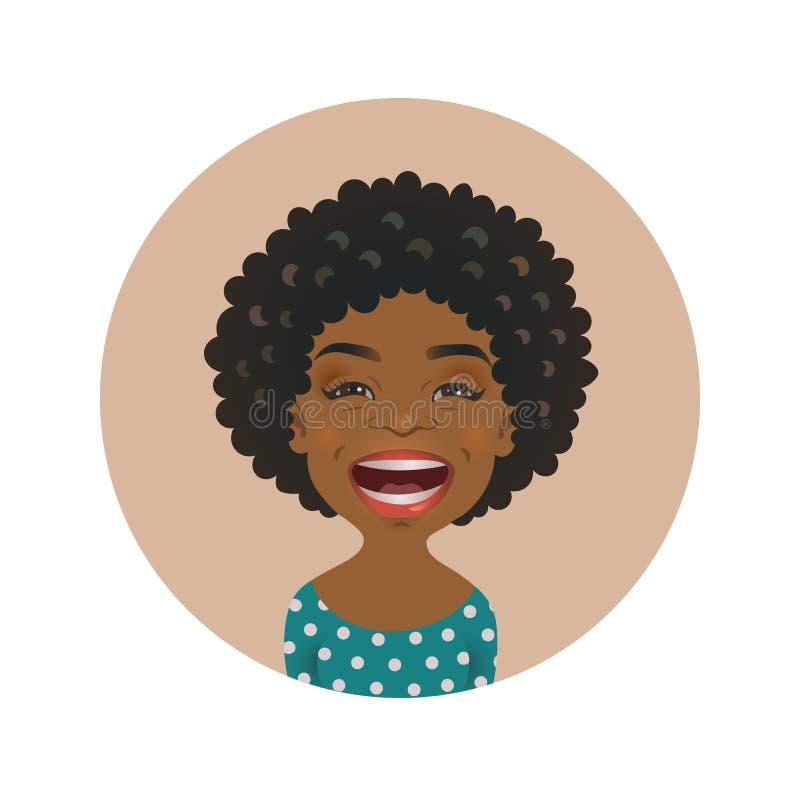Avatar afroamericano de risa de la mujer Emoticon africano de la risa de la muchacha Expresión facial del lol alegre negro lindo  ilustración del vector
