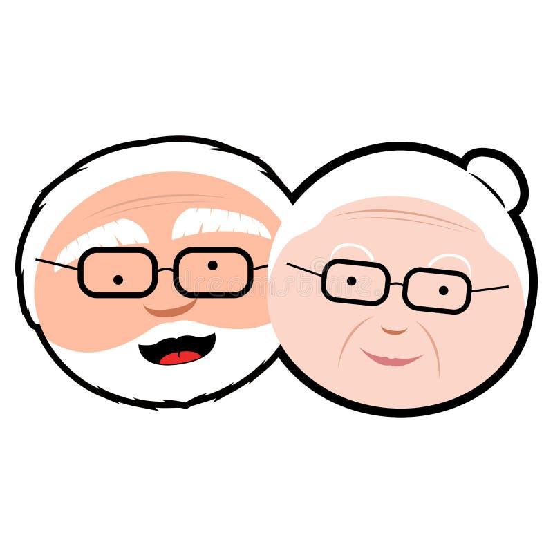 Avatar aislado de los abuelos ilustración del vector