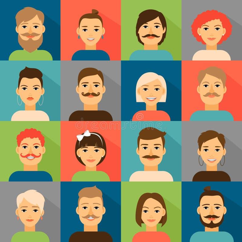 Avatar app ikony Użytkownika modnisia twarzy set ilustracja wektor