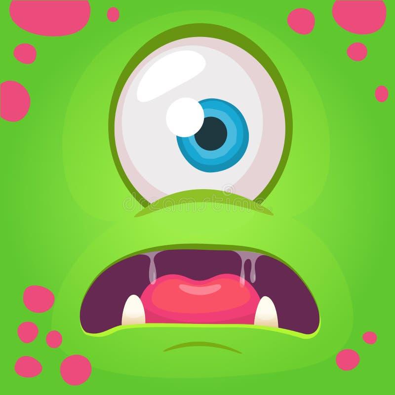 Avatar arrabbiato del fronte del mostro del fumetto Mostro di verde di Halloween di vettore con un occhio Maschera del mostro illustrazione di stock
