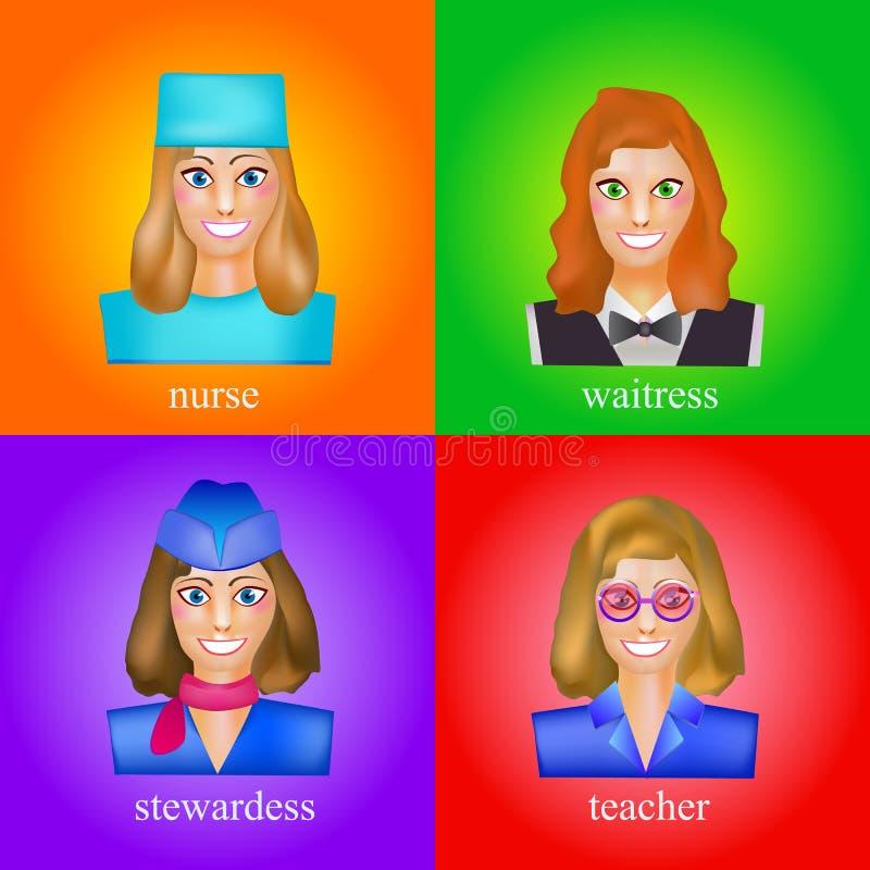 Avatar av en kvinna i den yrkesmässiga formen av sjuksköterskan Avatars för att studera språk, anställda, för vänner, för vektor illustrationer