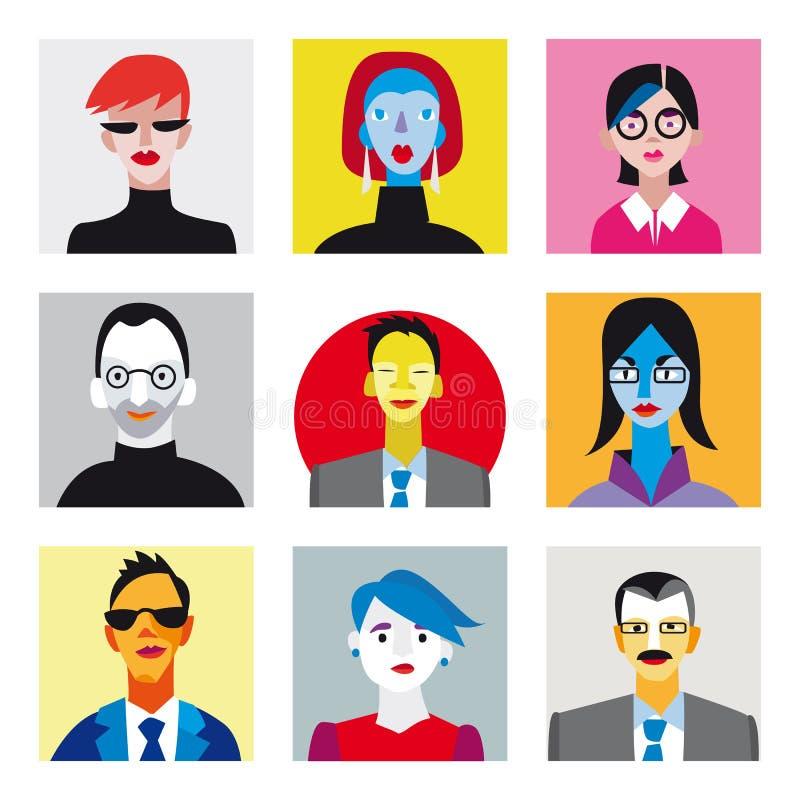 avatar biznesmenów bizneswomany ustawiają ilustracja wektor