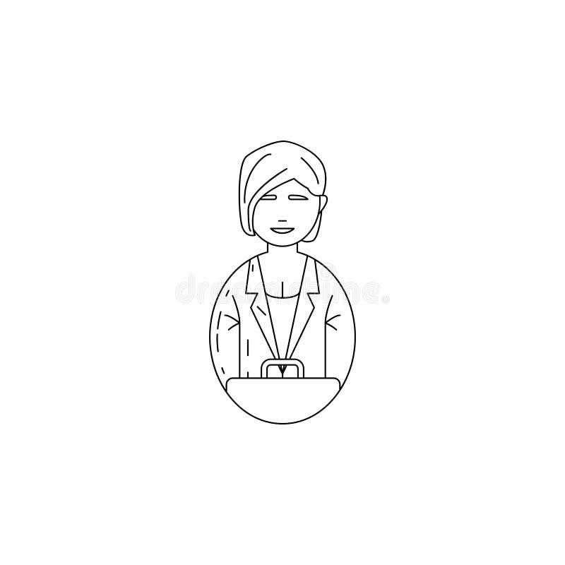 avatar biznesowej kobiety ikona Zawody dla mobilnych pojęcia i sieci apps Cienka kreskowa ikona dla strona internetowa projekta i ilustracji