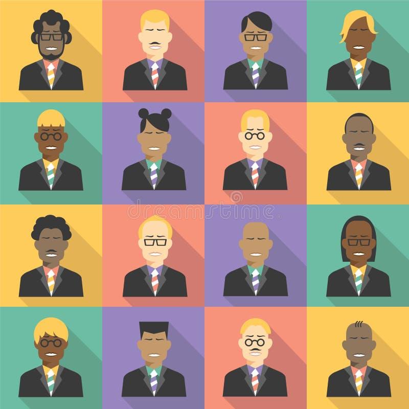 Avatar biznesu drużyny ikony ustawiać w mieszkaniu projektują royalty ilustracja