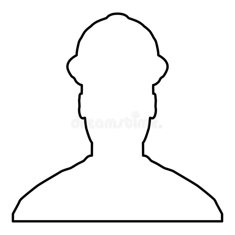 Avatar builder architect engineer in helmet view icon black color vector illustration flat style image. Avatar builder architect engineer in helmet view icon royalty free illustration