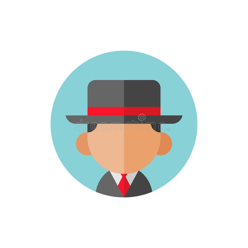Avatar businessman or gangster wearing fedora hat, flat vector icon design vector illustration