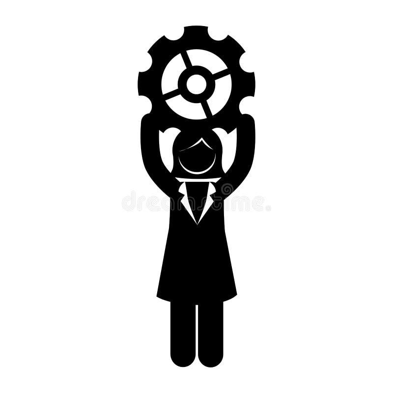 Avatar businessperson met toestel royalty-vrije illustratie