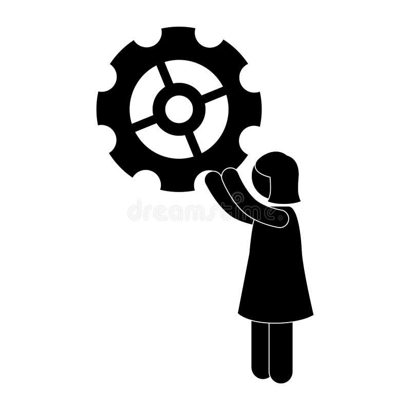 Avatar businessperson met toestel vector illustratie