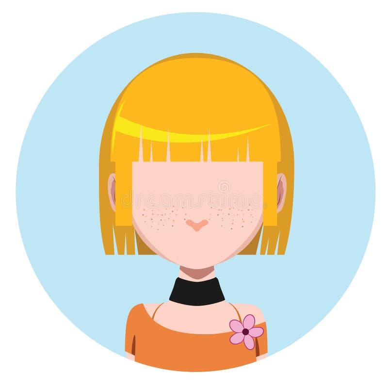 Avatar casuale della ragazza royalty illustrazione gratis