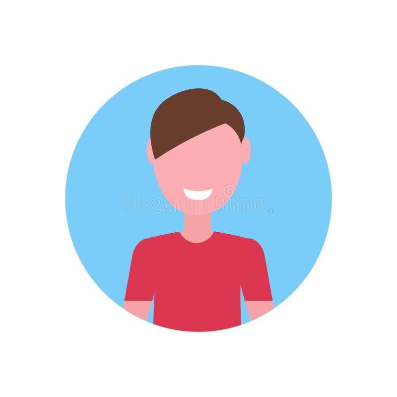 Avatar caucasiano feliz da cara do menino pouco do retrato masculino do personagem de banda desenhada da criança fundo branco li ilustração stock