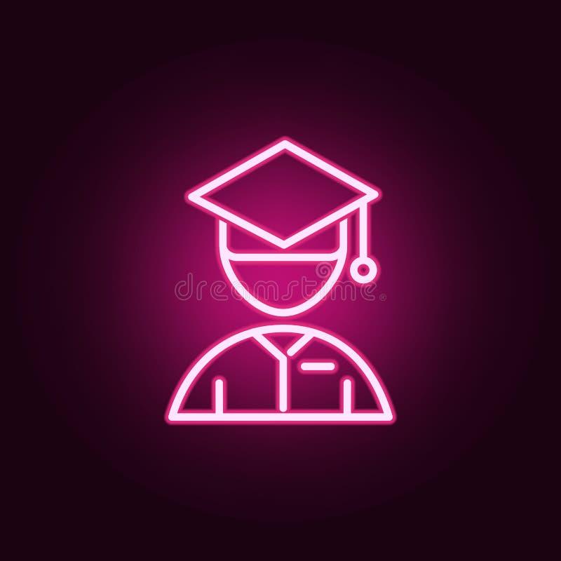 Avatar con el icono de neón del casquillo de la graduación Elementos del sistema de la educaci?n Icono simple para las p?ginas we ilustración del vector