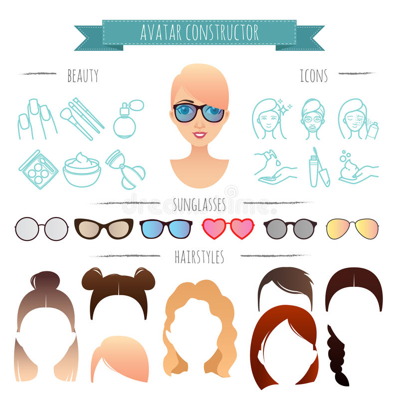 Avatar constructor. 7 hairstyles, 6 sunglasses, 12 beauty icons vector illustration