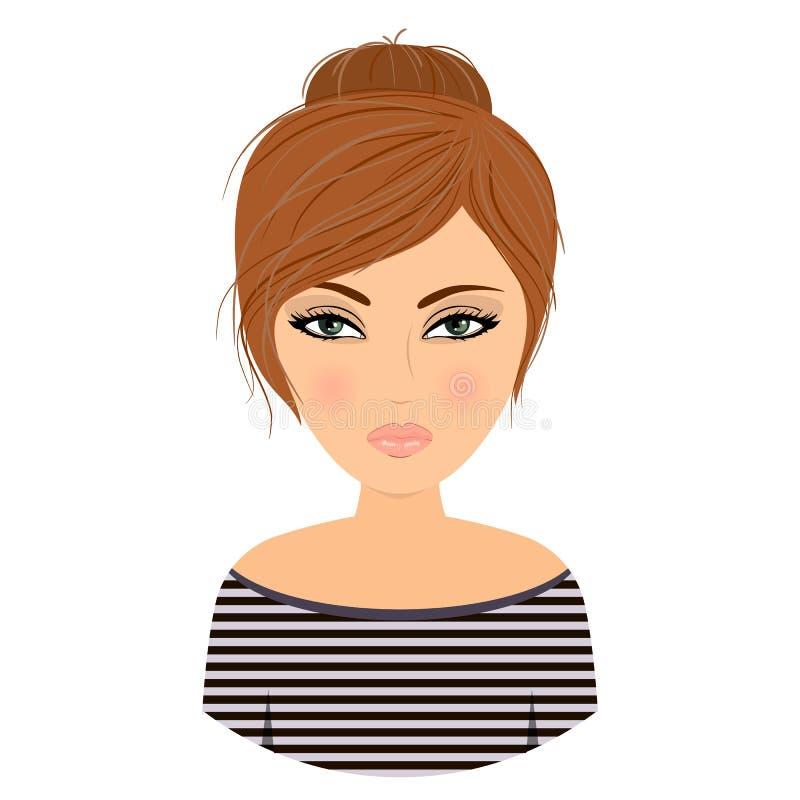 Avatar da menina cartoon Vetor conservado em estoque ilustração stock
