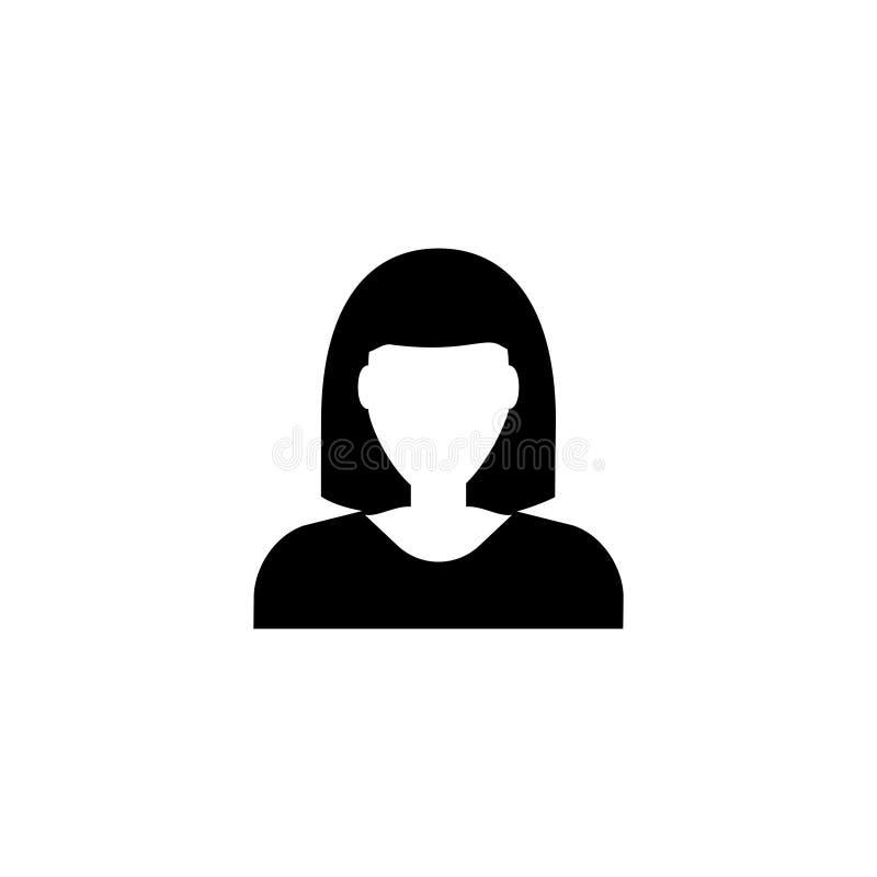 Avatar da mulher, ícone liso do vetor do usuário fêmea ilustração royalty free