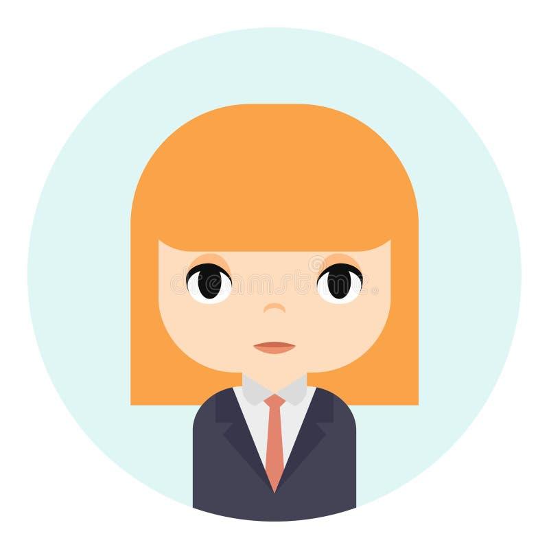 Avatar da mulher com cara de sorriso Personagem de banda desenhada fêmea Mulher de negócios Ginger People Icon bonito Trabalhador ilustração stock