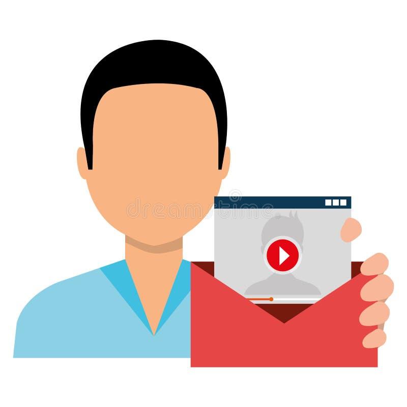 Avatar da pessoa com mercado social do envelope ilustração stock