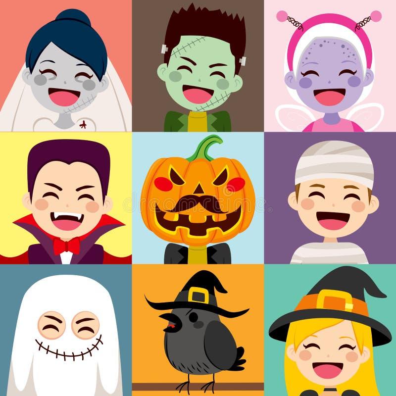 Avatar das crianças de Dia das Bruxas ilustração royalty free