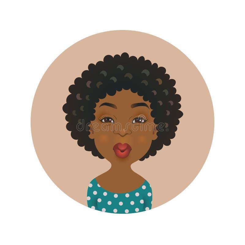 Avatar de baiser afro-américain mignon de femme Expression du visage africaine d'amour de fille Personne de flirt à la peau foncé illustration stock
