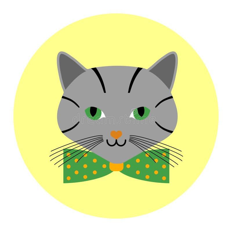 Avatar de chats avec le cercle de bande dessinée de noeud papillon illustration de vecteur