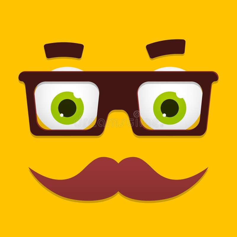 Avatar de hippie de vecteur avec des verres de connaisseur et illustration de vecteur