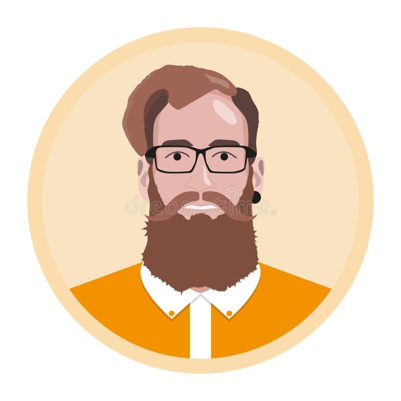Avatar de hippie Homme avec la moustache et la barbe illustration de vecteur