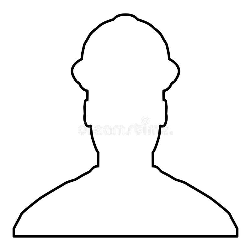 Avatar de ingenieur van de bouwersarchitect in van de het pictogram het zwarte kleur van de helmmening beeld van de de illustrati royalty-vrije illustratie